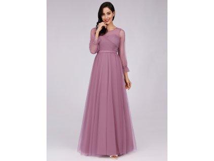 Tylové dlouhé šaty s rukávy