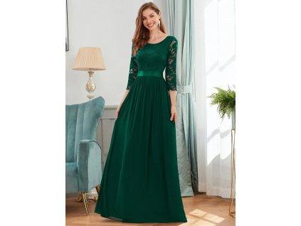 Zelené plesové šaty s rukávy