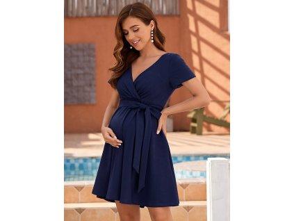 Těhotenské šaty tmavě modré krátké