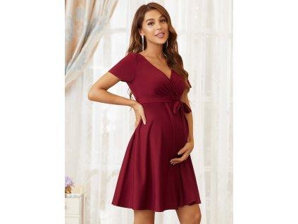 Krátké těhotenské šaty bordo