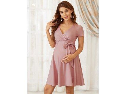Těhotenské šaty krátké starorůžové