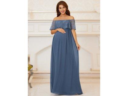 Modrošedé těhotenské společenské šaty