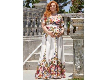 Letní těhotenské šaty bílé s květy