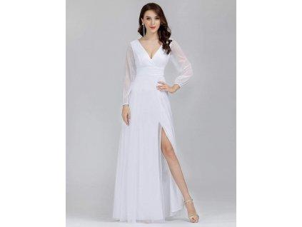 svatební bílé šaty s dlouhými rukávy