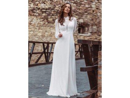 459WH bílé šaty s rukávy