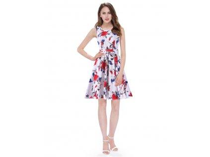 Ever Pretty šaty bílé s květy krátké 5521