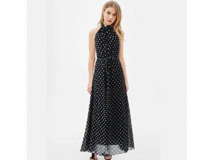 A Letní šaty černé s puntíky bez rukávů 871