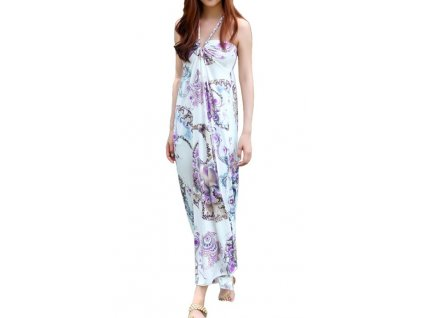 A Letní šaty bílé s fialovými motivy 197D