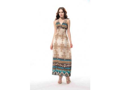Letní šaty dlouhé s krajkou béžové DL75