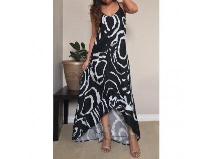 A Letní šaty dlouhé černé batika a volánek 7151
