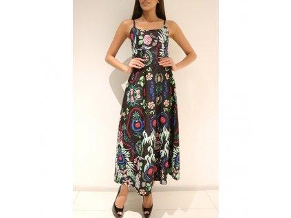 A Letní šaty dlouhé černé květinové na ramínka