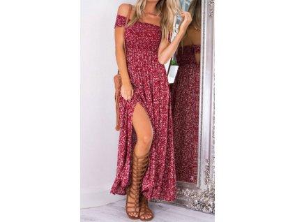 A Letní šaty červené jemnými letními kvítky 484-1