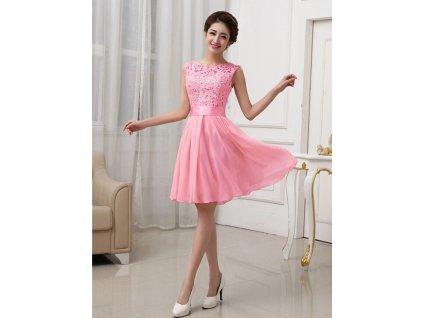 A Plesové šaty krátké s krajkou růžové MO736
