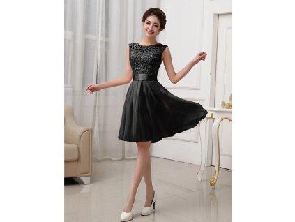 A Plesové šaty krátké s krajkou černé