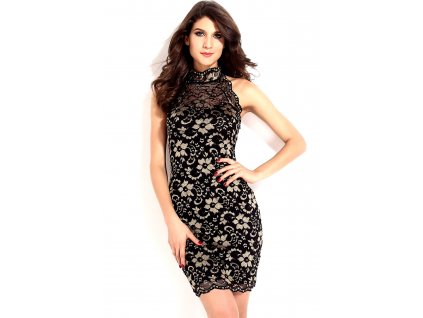 Sexy šaty krajkové černé se zlatými motivy