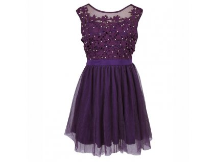 A Plesové šaty krátké s krajkou fialové s perličkami 45-1