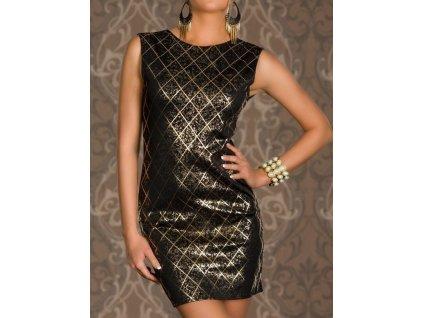 Krásné elegantní černé šaty se zlatým vzorem