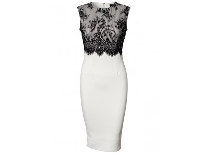 A Elegantní pouzdrové šaty s krajkou bílé OH502