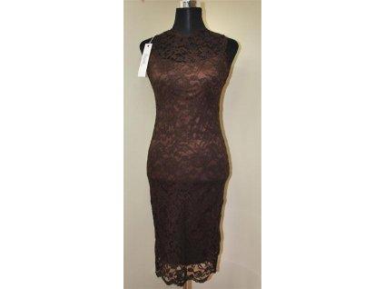 Dámské elegantní krajkové šaty Mayaadi Deluxe hnědé