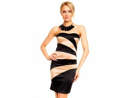 Elegantní pouzdrové šaty Mayaadi dvoubarevné