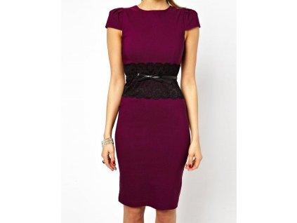 A Elegantní pouzdrové šaty s krajkou fialkové OH036