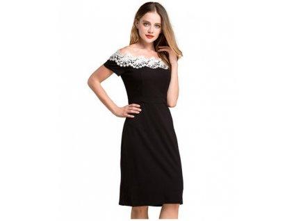 Elegantní šaty s krajkou černé  803