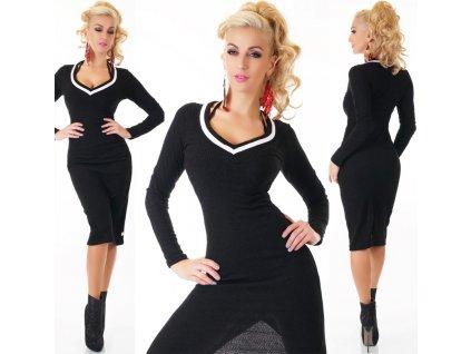 Dámský dlouhý svetr nebo minišaty černé