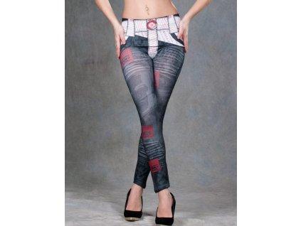 Dámské legíny, leggins šedé s páskem 20-10
