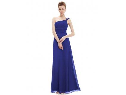 Dlouhé šaty na jedno ramínko mořská modrá 9596 (Velikost 3XL / 48 / 16 / 20)