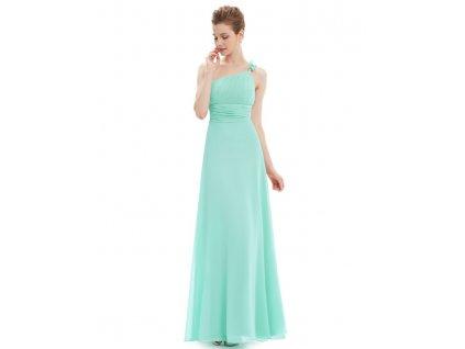 Tyrkysové dlouhé šaty na jedno ramínko 9596 (Velikost 3XL / 48 / 16 / 20)
