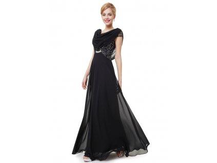 Dámské elegantní Ever Pretty plesové šaty černé 9989 (Velikost 3XL / 48 / 16 / 20)
