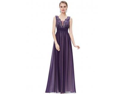 Dámské elegantní Ever Pretty plesové šaty fialové 8019 (Velikost 3XL / 48 / 16 / 20)