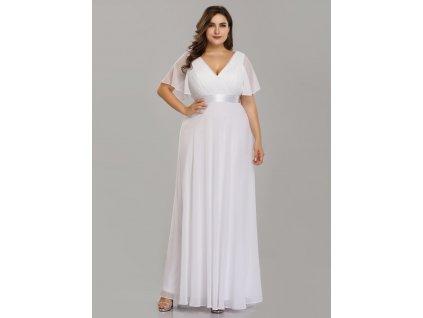 Svatební šaty s rukávem a velkým výstřihem