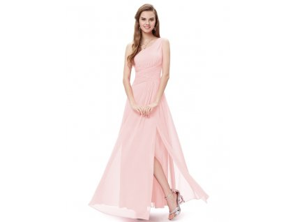 Dlouhé šaty šifonové jemně růžové letní i společenské 9905 (Velikost 3XL / 48 / 16 / 20)