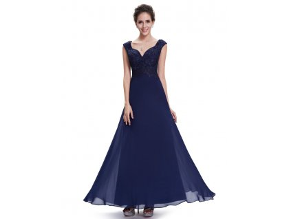 Elegantní Ever Pretty plesové šaty modré 8598 (Velikost 3XL / 48 / 16 / 20)