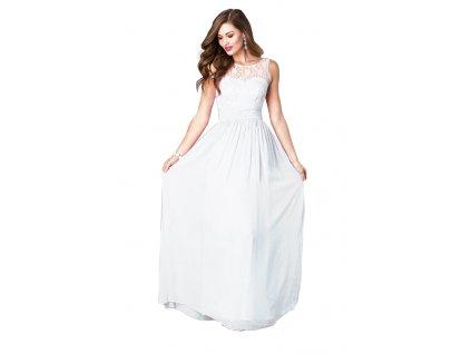 A Bílé šifonové šaty dlouhé s krajkou 84-1
