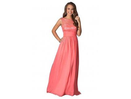 A Lososové šifonové šaty dlouhé s krajkou 84-4