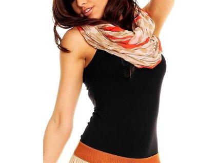 Šátek, šála béžová s červeným vzorem HS113