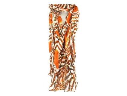 Krásná dámská šála, šátek, sarong, pareo oranžová