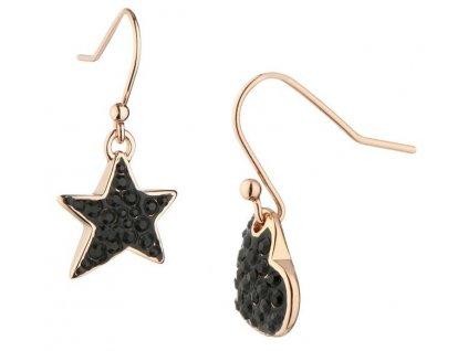 Guess dámské naušnice černé srdce a hvězda UBE81074