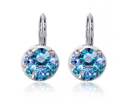 Elegantní dámské naušnice s modrými kamínky