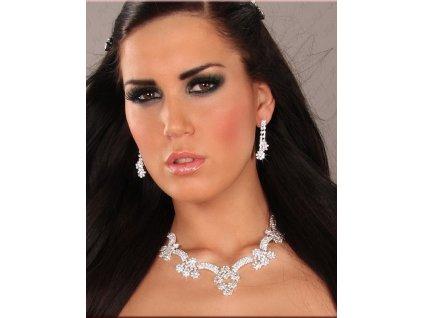 Set z bižuterie štras náušnice a náhrdelník