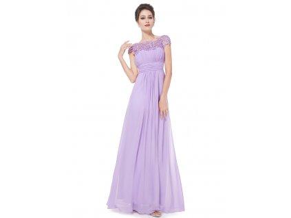 Ever Pretty krajkové šaty společenské fialové 9993 (Velikost 3XL / 48 / 16 / 20)