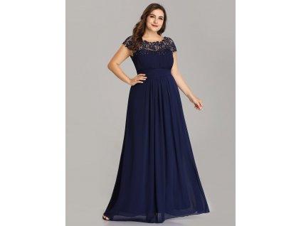 Tmavě modré plesové šaty s krajkou až 7XL