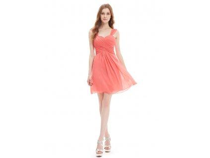 Ever Pretty letní šaty krátké lososové 3539 (Velikost 3XL / 48 / 16 / 20)