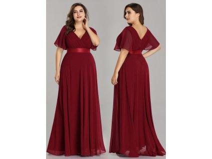 Luxusní společenské šaty bordo s rukávy