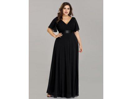 Dlouhé černé šaty s krátkým rukávem