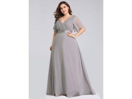 Dlouhé šedé šaty s rukávkem v nadměrných velikostech