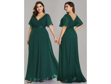 Lahvově zelené šaty pro nadměrné velikosti