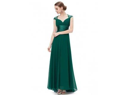 Ever Pretty plesové šaty s flitry zelené 9672 GR (Velikost 3XL / 48 / 16 / 20)